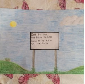 A poster on farm safety by Kerri in 6th Class.
